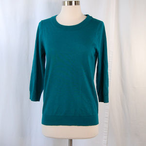 {J Crew} Teal Merino Wool 3/4 Sleeve Sweater Sz S